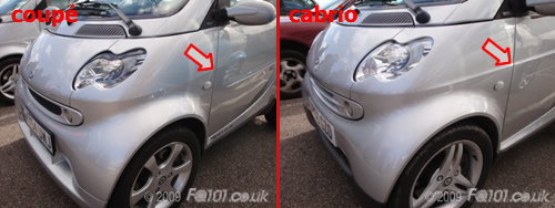 Look At The Cabrio Quarter Panel And You Will See The Crease From The Door Panel Following Through